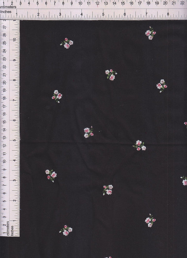 POP948-Q90731 -BLACK DITSY, FLOWER, FLORAL PRINT WOVEN
