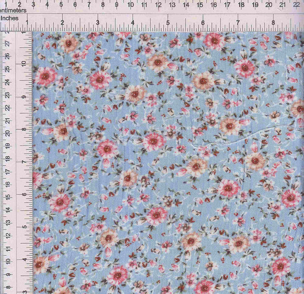 CRP3143-SE40515 -BLUE DITSY, FLOWER, FLORAL PRINT WOVEN