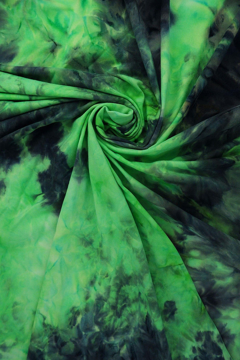 KNT4117 -NEON LIME/BLACK  TIE-DYE KNIT