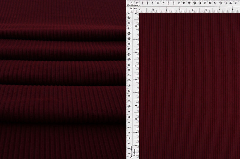 KNT4352 -BURGUNDY  RIBBED, SOLID KNIT
