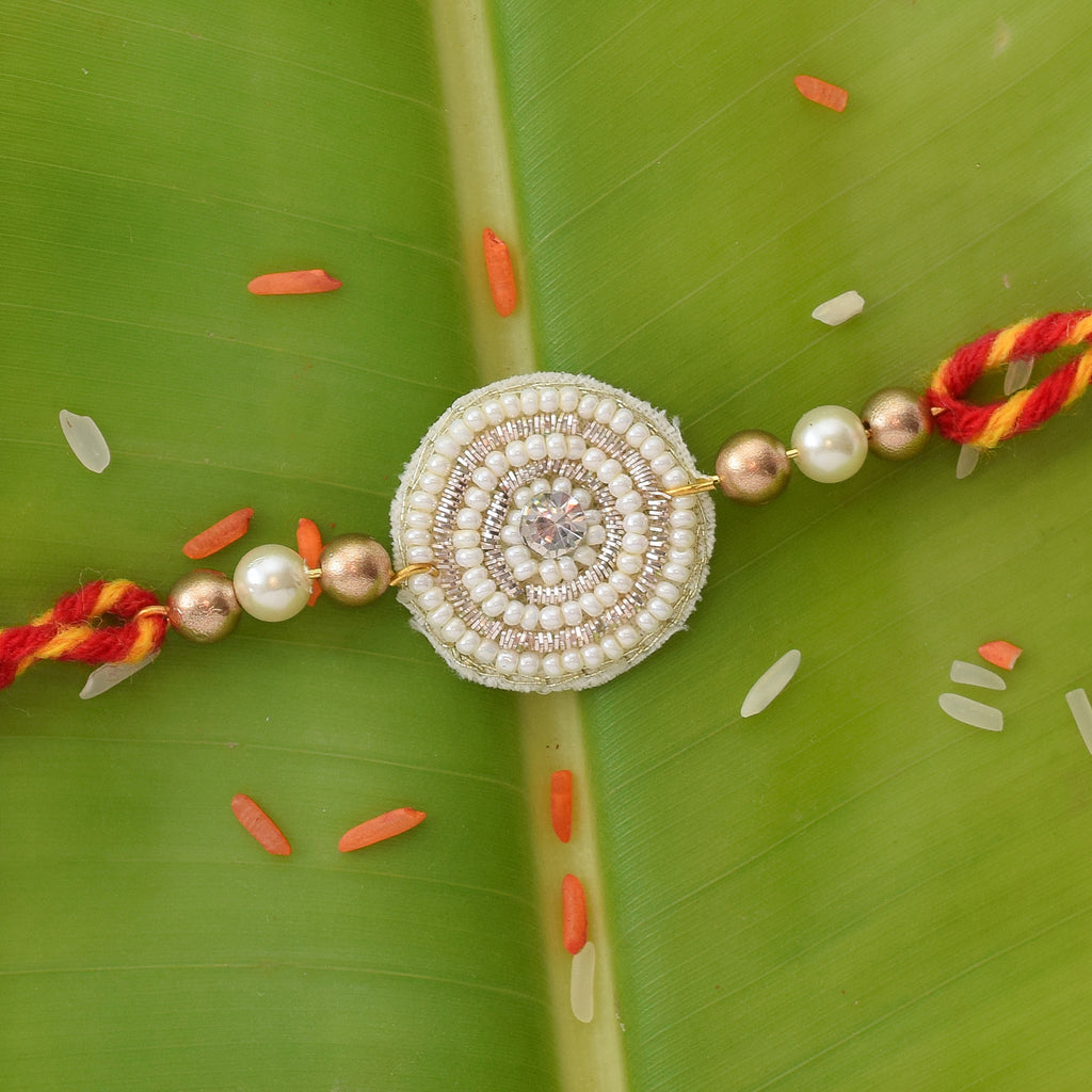 WHITE BEADED RAKHI