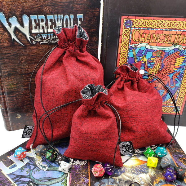 Custom Lava Red Magic Dice Bags