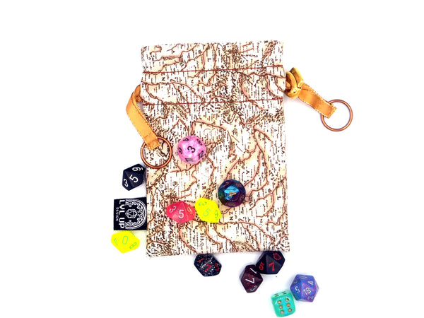 Small Traveler's Map Dice Bag