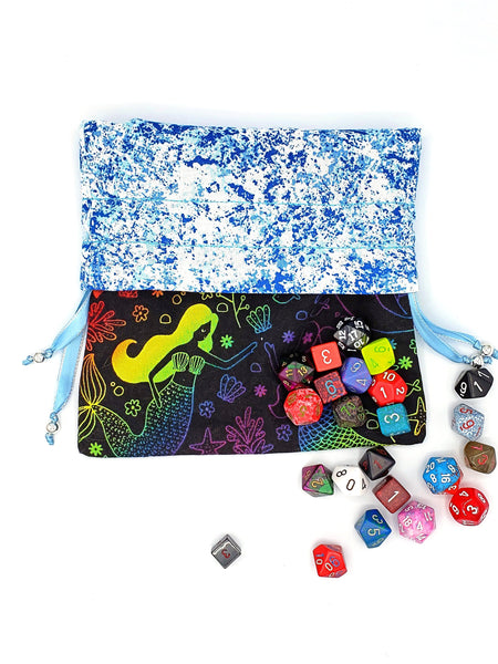 Large Rainbow Mermaid Dice Bag