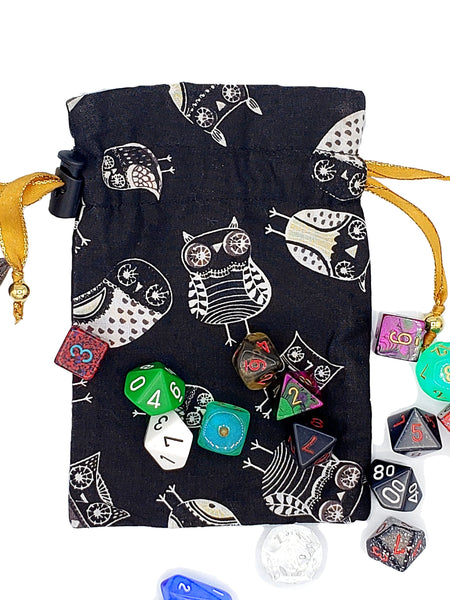 Black and White Owl Dice Bag