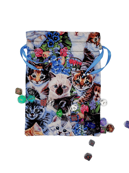 Large Cats and Flowers Dice Bag