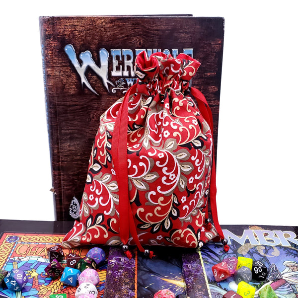 Large Red Royal Filigree Dice Bag