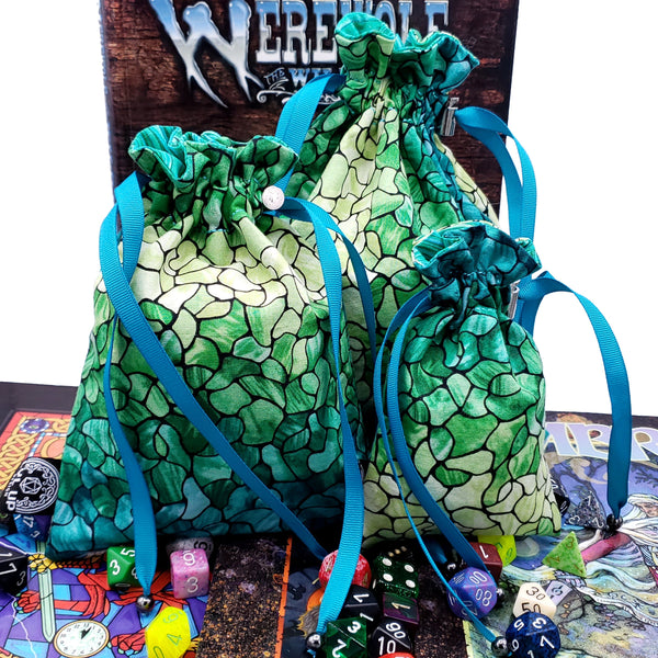 Medium Green Stained Glass / Seaglass Dice Bag