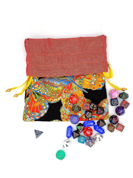 Large Multicolored Butterfly Dice Bag