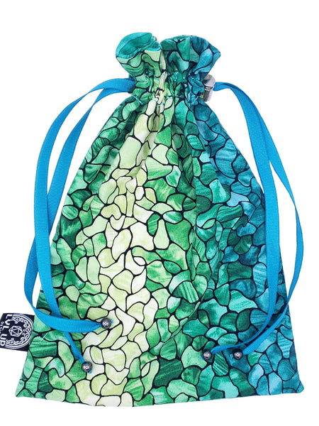 Large Green Stained Glass / Seaglass Dice Bag