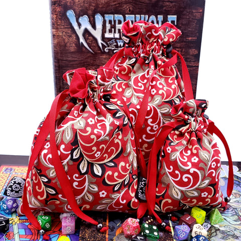 Custom Red Royal Filigree Dice Bag