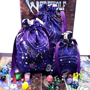Custom Purple Constellation Dice Bags