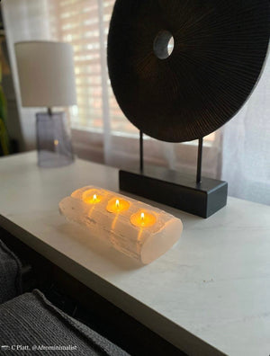 Selenite Log Candle Holder
