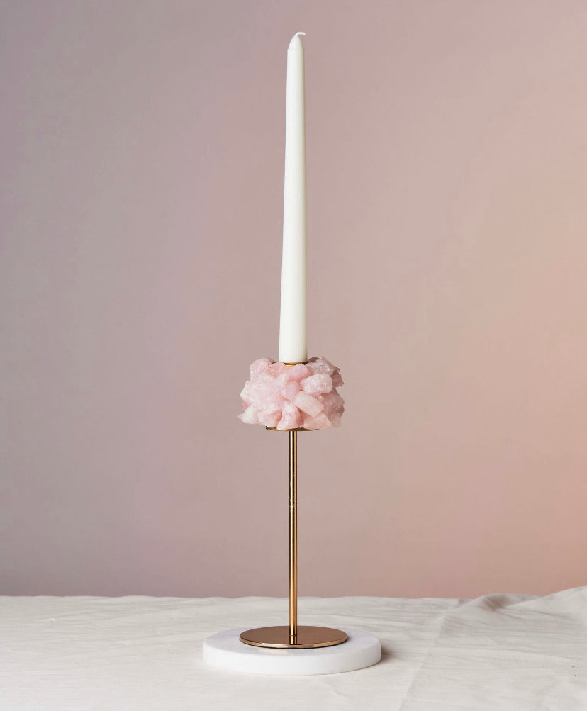 Mwanga Rose Quartz Candlestick Holder