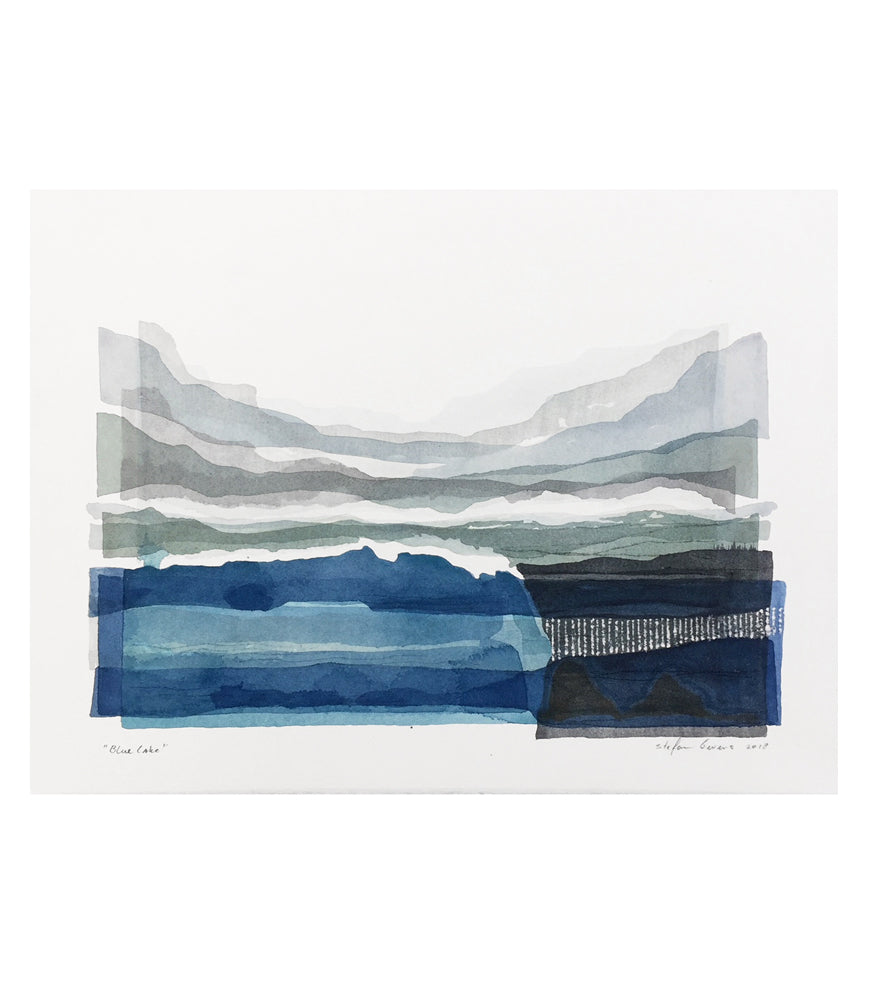 Stefan Gevers -Blue Lakes - Small Watercolour - SOLD