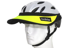 Load image into Gallery viewer, Da Brim Rezzo helmet visor in fluorescent yellow. Angled front view.