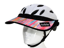 Load image into Gallery viewer, Da Brim Rezzo helmet visor in pastel ribbons. Angled front view.