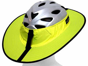 Da Brim Cycing Classic helmet visor brim in fluorescent yellow. Right rear view.