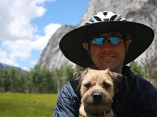 Load image into Gallery viewer, Having fun with Da Brim. Cycling Classic underside view. Man and dog.