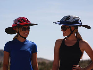 2 females wearing Da Brim cycling classic helmet visor brims