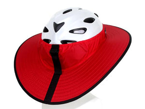Da Brim cycling Classic helmet visor in red. Back view.