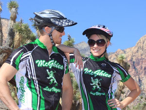 A couple of bike riders wearing the Da Brim Rezzo helmet visor.