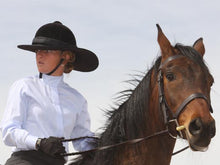 Load image into Gallery viewer, Female rider on horse. Rider is wearing the Da Brim Equestrian Petite Helmet Brim Visor in black.