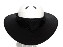 Load image into Gallery viewer, Da Brim Equestrian Endurance helmet brim visor in black. Rear view.