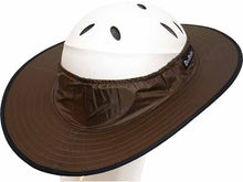 Load image into Gallery viewer, Da Brim Equestrian Endurance helmet brim visor in chocolate brown. Right rear angle view.