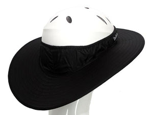 Da Brim equestrian endurance helmet brim visor in black. Right rear view.
