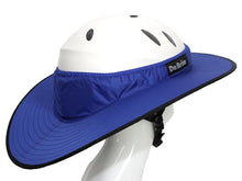 Load image into Gallery viewer, Da Brim Equestrian Endurance helmet brim visor in blue. Right rear view.