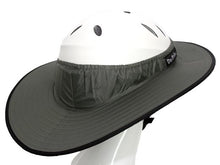 Load image into Gallery viewer, Da Brim Equestrian Endurance helmet brim visor in gray. Right angle rear view.