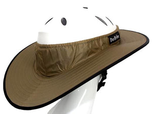 Da Brim Equestrian Endurance helmet brim visor in tan. Right rear view.