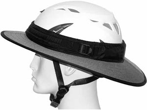 Da Brim PRO Tech Construction Helmet Visor Brim in gray. Left side view.