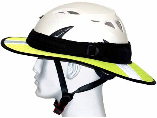 Da Brim PRO Tech Lite Construction helmet visor brim in fluorescent yellow with reflective. Left side view.