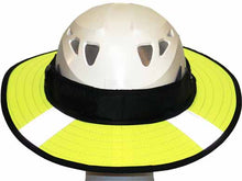 Load image into Gallery viewer, Da Brim PRO Tech Lite Construction helmet visor brim in fluorescent yellow with reflective. rear view.