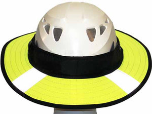 Da Brim PRO Tech Lite Construction helmet visor brim in fluorescent yellow with reflective. rear view.