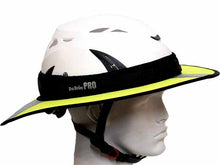 Load image into Gallery viewer, Da Brim PRO Tech Lite Construction helmet visor brim in fluorescent yellow with reflective. Right side view.