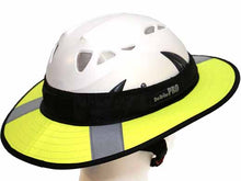 Load image into Gallery viewer, Da Brim PRO Tech Lite Construction helmet visor brim in fluorescent yellow with reflective. Right rear angle view.