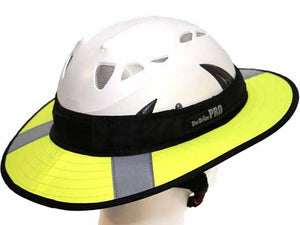 Da Brim PRO Tech Lite Construction helmet visor brim in fluorescent yellow with reflective. Right rear angle view.