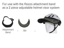 Load image into Gallery viewer, The Da Brim Rezzo Replacement Bill is designed to be used with the Da Brim Rezzo Helmet Visor attachment band. Pictured are the attachment band and bill separately and in combination on a helmet.