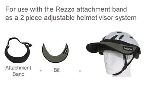 The Da Brim Rezzo Replacement Bill is designed to be used with the Da Brim Rezzo Helmet Visor attachment band. Pictured are the attachment band and bill separately and in combination on a helmet.