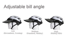 Load image into Gallery viewer, The Da Brim Rezzo helmet visor can be angled to many different positions using its hook and loop system. 3 different angles and uses  (such as recumbent riding, midday, and evening riding)are pictured.