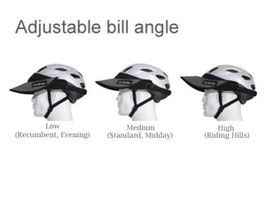 The Da Brim Rezzo helmet visor can be angled to many different positions using its hook and loop system. 3 different angles and uses  (such as recumbent riding, midday, and evening riding)are pictured.