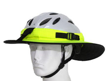Load image into Gallery viewer, Da Brim Sporty Cycling Helmet Visor Brim in Fluorescent Yellow. Front angled view.
