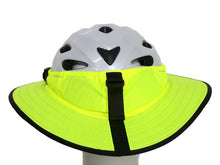 Load image into Gallery viewer, Da Brim Sporty Cycling Helmet Visor Brim in Fluorescent Yellow. Rear view.