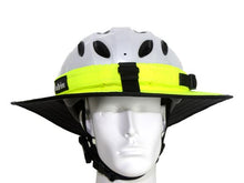 Load image into Gallery viewer, Da Brim Sporty Cycling Helmet Visor Brim in Fluorescent Yellow. Front view.
