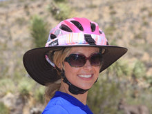 Load image into Gallery viewer, Model wearing the Da Brim Sporty Cycling Helmet Visor Brim in pastel ribbons