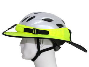 Da Brim Sporty Cycling Helmet Visor Brim in Fluorescent Yellow. Left side view.