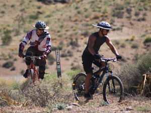 Two mountain bikers out riding while wearing the Da Brim Sporty Cycling Helmet Visor Brim